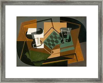 Chessboard, Glass, And Dish Framed Print by Juan Gris
