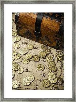 Chest With Pirate Treasure Framed Print by Garry Gay