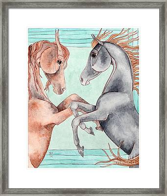 Chestnut And Black Horses On Turquoise Framed Print by Suzanne Joyner