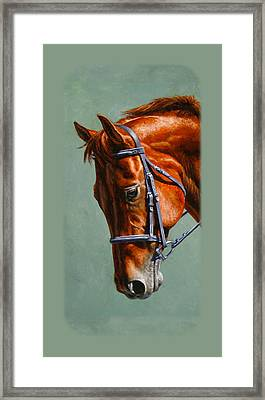 Chestnut Dressage Horse Phone Case Framed Print