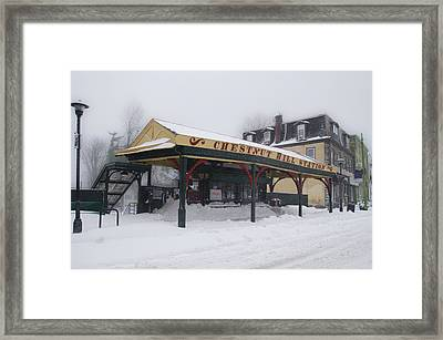Chestnut Hill Station In Winter Framed Print by Bill Cannon