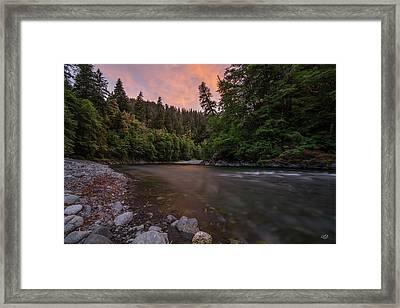 Chetco River Sunset Framed Print by Leland D Howard