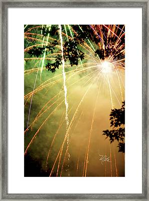 Framed Print featuring the photograph Chetola Yellow Fireworks by Meta Gatschenberger