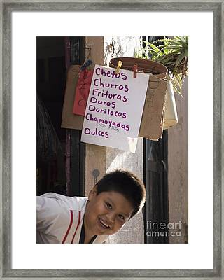 Chetos Boy Framed Print by Juli Scalzi