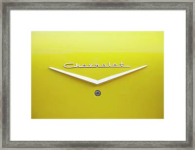 Framed Print featuring the photograph Chevrolet Bel Air In Yellow by Toni Hopper