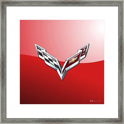 Chevrolet Corvette - 3d Badge On Red Framed Print by Serge Averbukh
