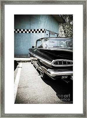 Chevrolet Impala In Front Of American Diner Framed Print