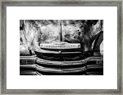 Chevrolet Truck Grille Emblem -0839bw1 Framed Print