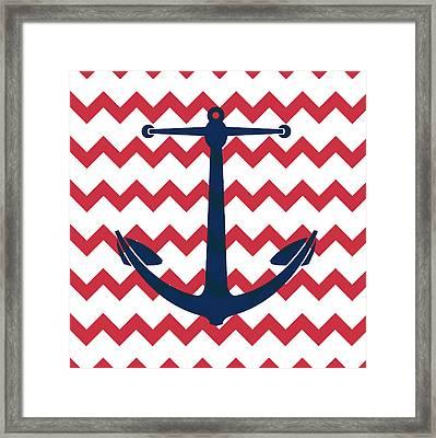 Chevron Anchor Framed Print by Brandi Fitzgerald