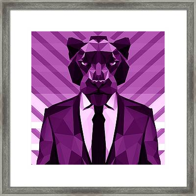 Chevron Panther Framed Print by Gallini Design