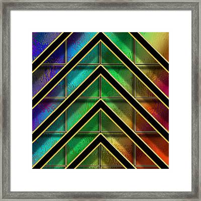 Chevrons And Squares On Glass Framed Print by Chuck Staley