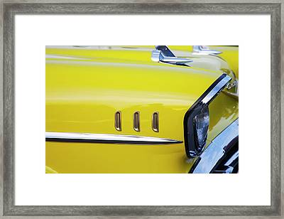 Framed Print featuring the photograph Chevy Bel Air Abstract In Yellow by Toni Hopper