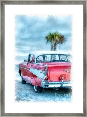 Chevy Belair At The Beach Watercolor Framed Print by Edward Fielding