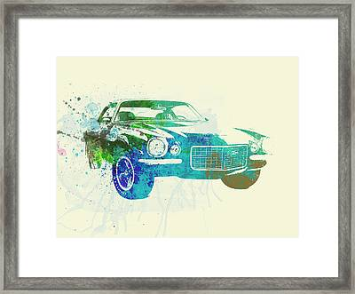 Chevy Camaro Watercolor Framed Print by Naxart Studio