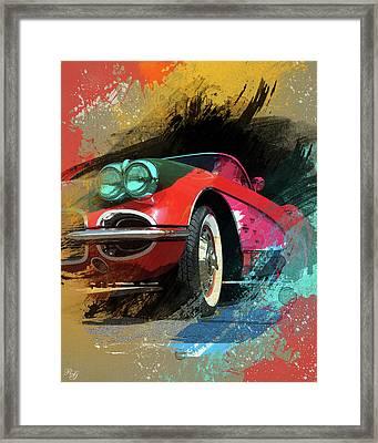 Chevy Corvette Digital Art Framed Print by Ron Grafe