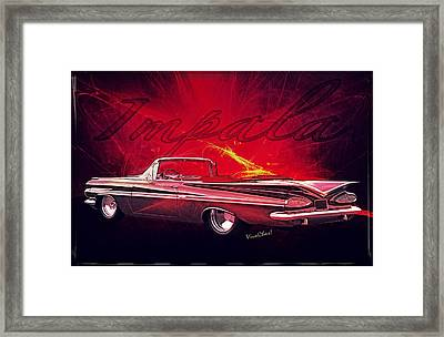 Chevy Impala Convertible For 1959 Framed Print