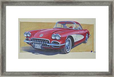 Framed Print featuring the drawing Chevy by Mike Jeffries
