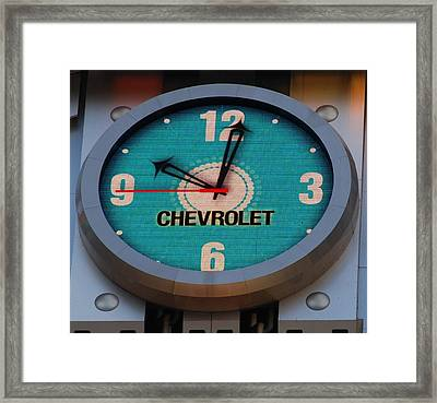 Chevy Neon Clock Framed Print by Rob Hans
