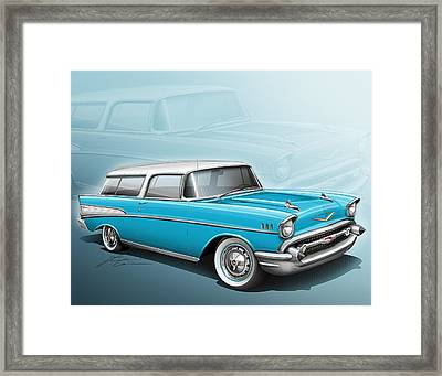 Chevy Nomad Wagon 1957 Framed Print by Etienne Carignan