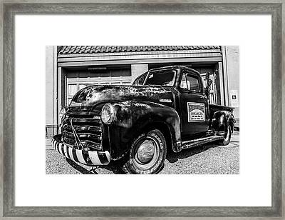 Chevy Pickup At Wally's Framed Print by Cynthia Wolfe