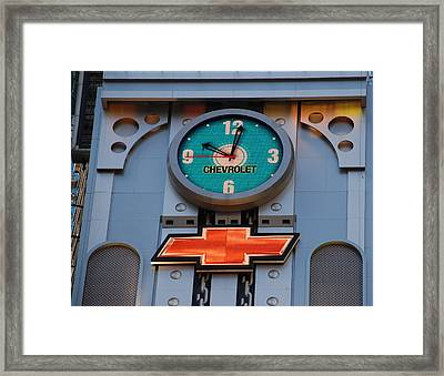 Chevy Times Square Clock Framed Print by Rob Hans
