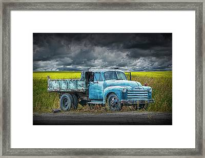 Chevy Truck Stranded By The Side Of The Road Framed Print