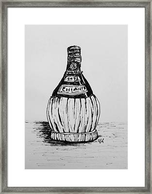 Chianti Bottle Framed Print by Victoria Lakes
