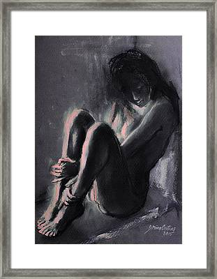 Chiaroscuro Sitting Nude  Framed Print by Dorina  Costras