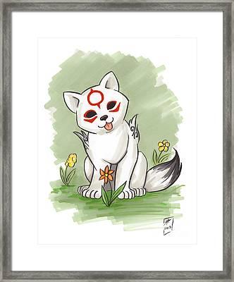 Chibiterasu Okami Framed Print by Brandy Woods