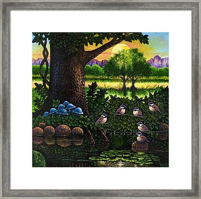 Framed Print featuring the painting Chicadees by Michael Frank