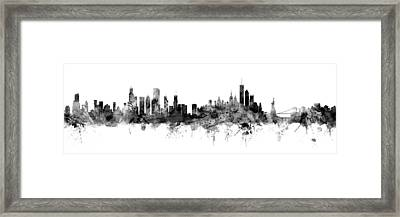 Chicago And New York City Skylines Mashup Framed Print