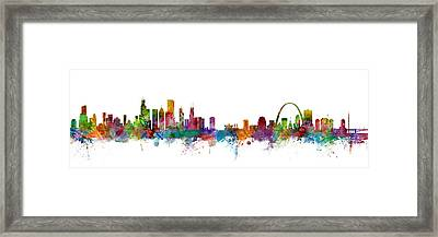 Chicago And St Louis Skyline Mashup Framed Print by Michael Tompsett