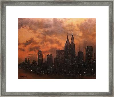 Chicago At Dusk Framed Print by Tom Shropshire