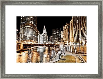 Chicago At Night At Wabash Avenue Bridge Framed Print