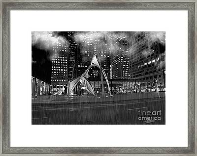 Chicago At Night-post Office On Dearborn And Adams Framed Print by Linda Matlow