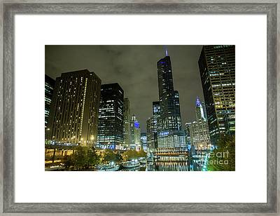 Chicago At Night Framed Print by Reynaldo Brigantty