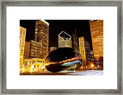 Chicago Bean Cloud Gate At Night Framed Print by Paul Velgos