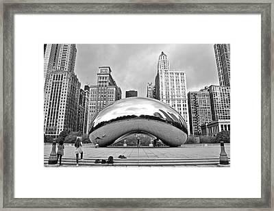 Chicago Bean In Black And White Framed Print by Frozen in Time Fine Art Photography