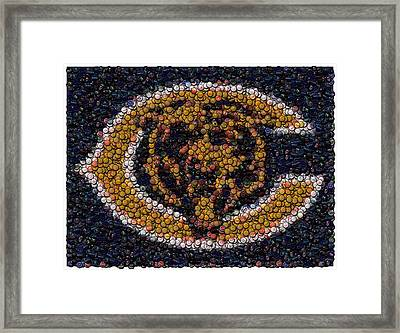 Chicago Bears Bottle Cap Mosaic Framed Print by Paul Van Scott