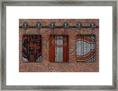 Chicago Bears Brick Wall Framed Print by Joe Hamilton