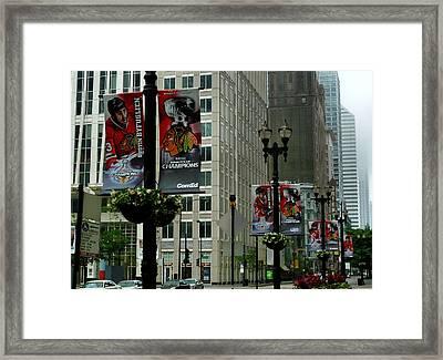 Chicago Blackhawk Flags Framed Print