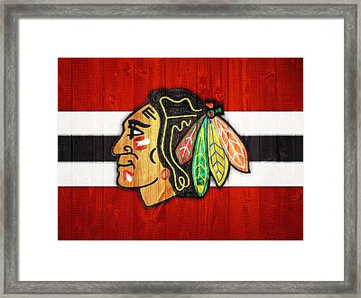 Chicago Blackhawks Barn Door Framed Print by Dan Sproul