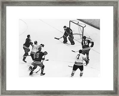 Chicago Blackhawks Bobby Hull Scores On Rangers Ed Giacomin. 1966 Framed Print