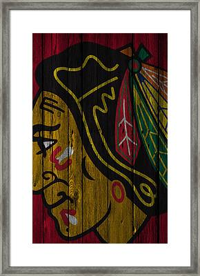 Chicago Blackhawks Wood Fence Framed Print by Joe Hamilton