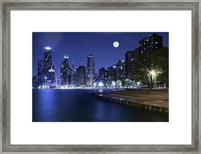 Chicago Blue Moon Framed Print by Frozen in Time Fine Art Photography