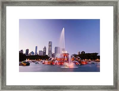 Chicago Buckingham Fountain At Twilight Framed Print by Abhi Ganju