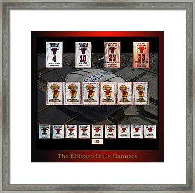 Chicago Bulls Banners Collage Framed Print by Thomas Woolworth