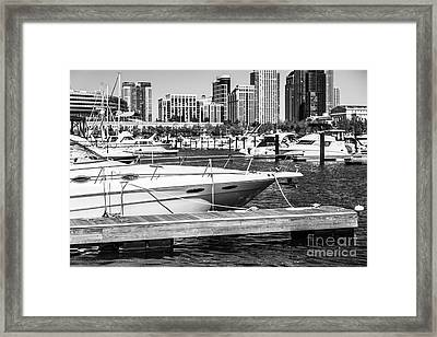 Chicago Burnham Harbor Black And White Photo Framed Print