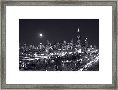 Chicago By Night Framed Print by Steve Gadomski