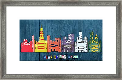 Chicago City By The Lake Recycled Vintage Skyline License Plate Art Framed Print
